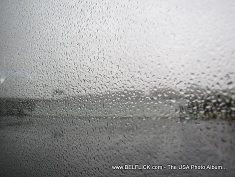 Rain spots on the glass at Dulles International Airport