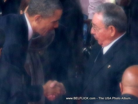 Barack Obama and Raoul Castro shake Hands - A Historic Moment at Mandela Memorial in South Africa